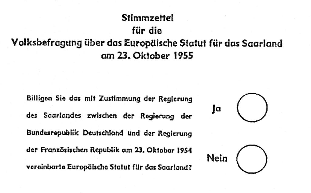 Ballot paper for the referendum on the Saar Statute (23 October 1955)