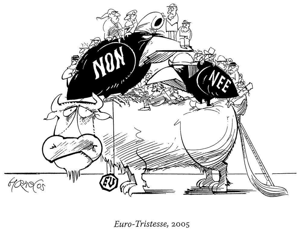 Cartoon by Hanel on the French and Dutch referenda (2005)